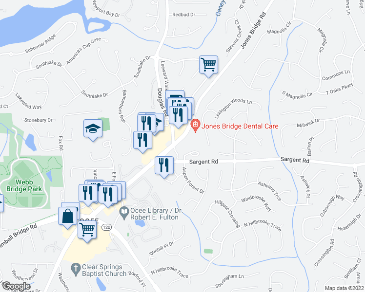 map of restaurants, bars, coffee shops, grocery stores, and more near 11906 Aspen Forest Drive in Johns Creek