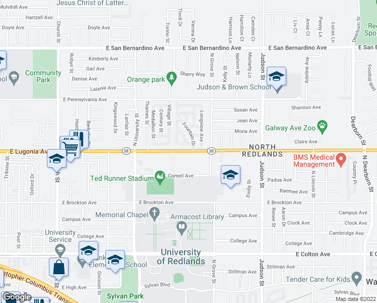 map of restaurants, bars, coffee shops, grocery stores, and more near 1250 East Lugonia Avenue in Redlands