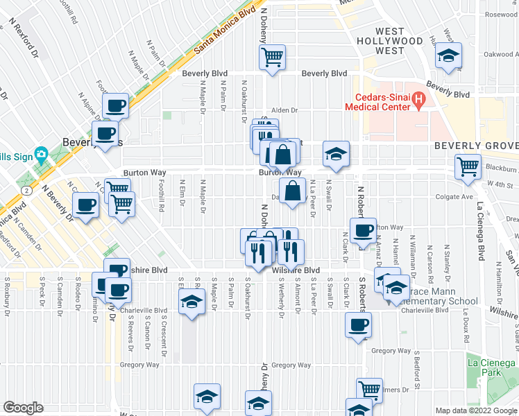 map of restaurants, bars, coffee shops, grocery stores, and more near 213 North Doheny Drive in Beverly Hills