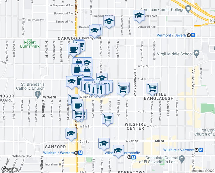 map of restaurants, bars, coffee shops, grocery stores, and more near 235 South Harvard Boulevard in Los Angeles