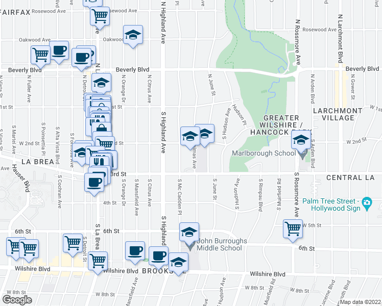 map of restaurants, bars, coffee shops, grocery stores, and more near West 2nd Street in Los Angeles