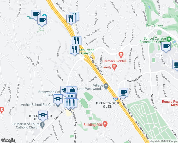 map of restaurants, bars, coffee shops, grocery stores, and more near 160 Beloit Avenue in Los Angeles