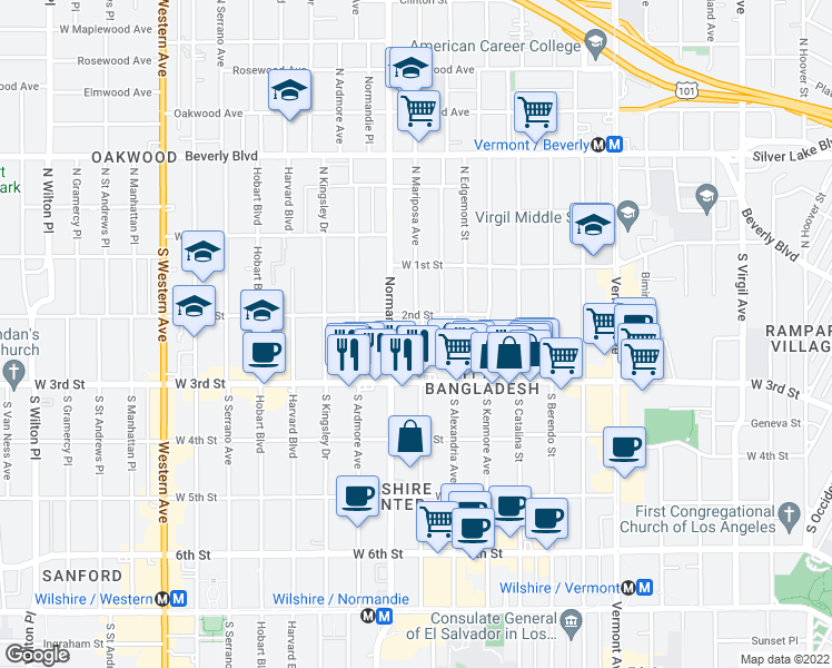 map of restaurants, bars, coffee shops, grocery stores, and more near 219 South Mariposa Avenue in Los Angeles