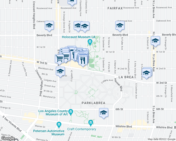 map of restaurants, bars, coffee shops, grocery stores, and more near 6227-6229 West 3rd Street in Los Angeles