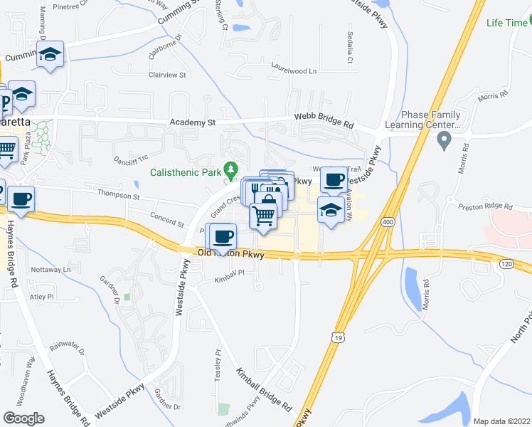 map of restaurants, bars, coffee shops, grocery stores, and more near 1213 Avalon Boulevard in Alpharetta