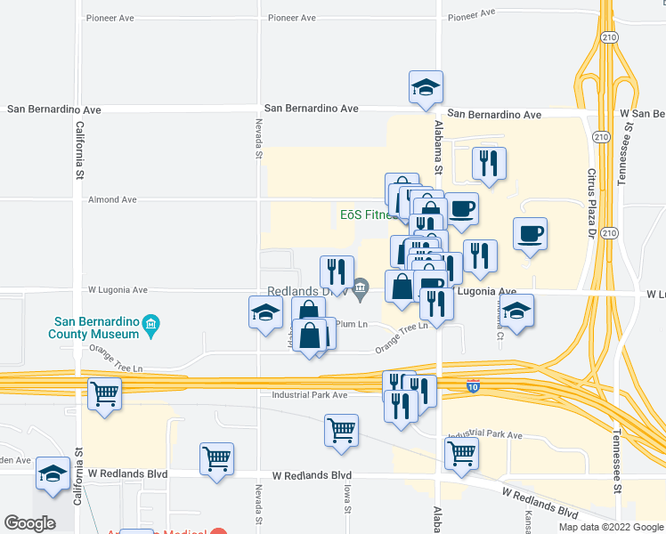 map of restaurants, bars, coffee shops, grocery stores, and more near 27000 West Lugonia Avenue in Redlands