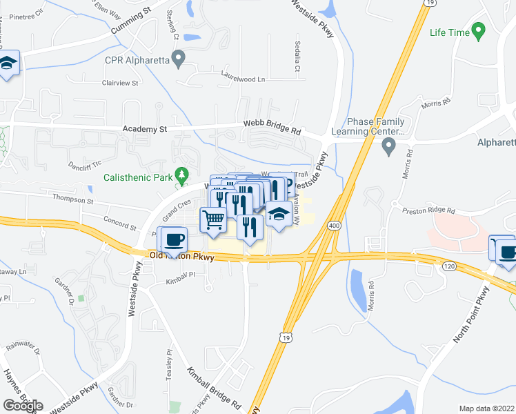 map of restaurants, bars, coffee shops, grocery stores, and more near 1st Street in Alpharetta