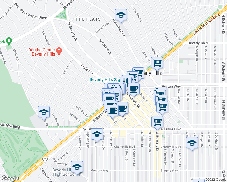 map of restaurants, bars, coffee shops, grocery stores, and more near 505 North Rodeo Drive in Beverly Hills