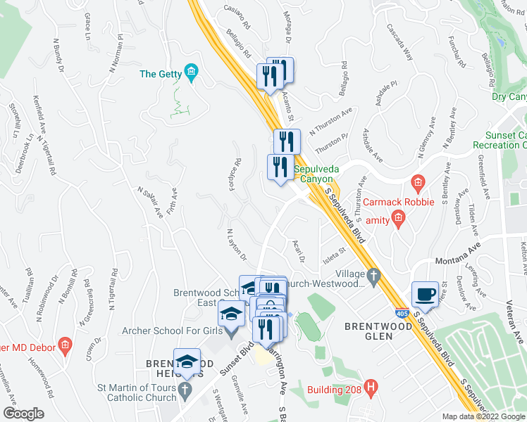 map of restaurants, bars, coffee shops, grocery stores, and more near 121 North Gunston Drive in Los Angeles