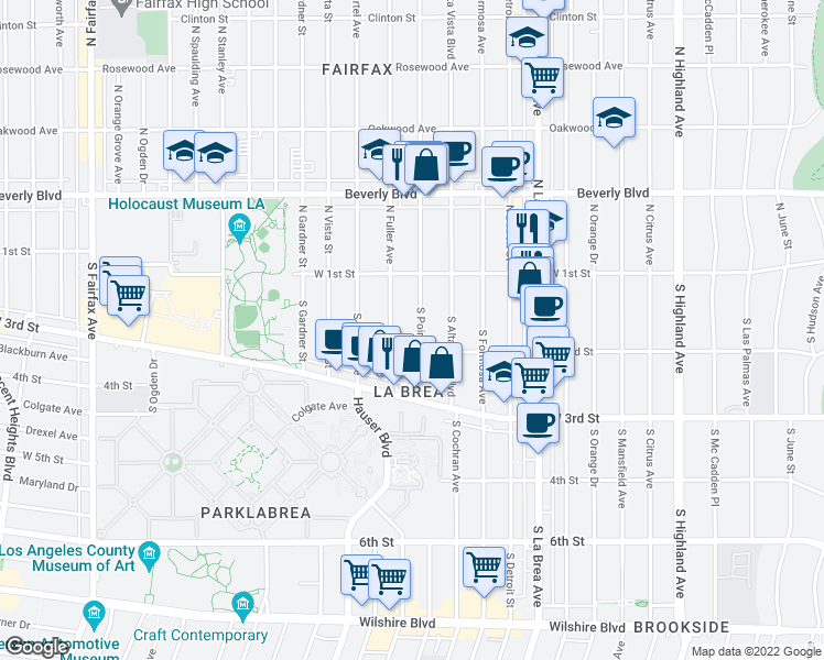 map of restaurants, bars, coffee shops, grocery stores, and more near 161 South Poinsettia Place in Los Angeles