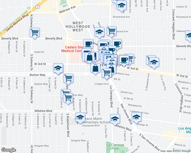 map of restaurants, bars, coffee shops, grocery stores, and more near 8568 Burton Way in Los Angeles