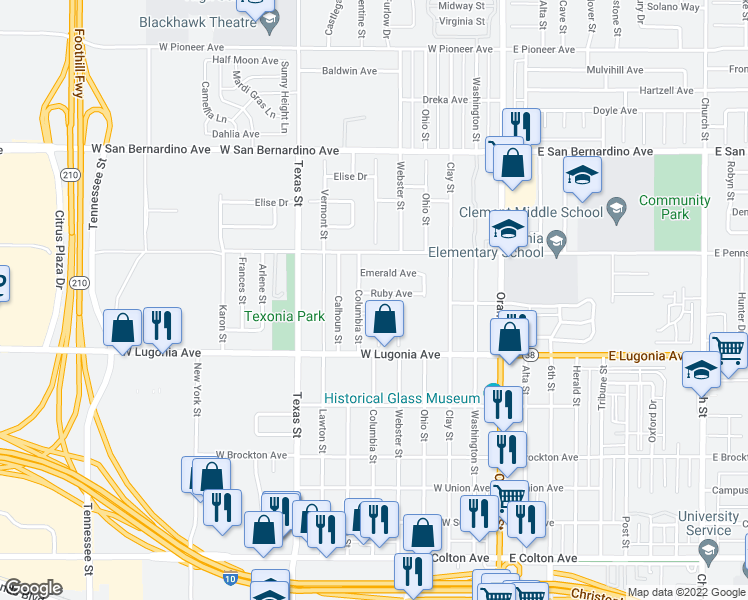 map of restaurants, bars, coffee shops, grocery stores, and more near 419 Ruby Avenue in Redlands