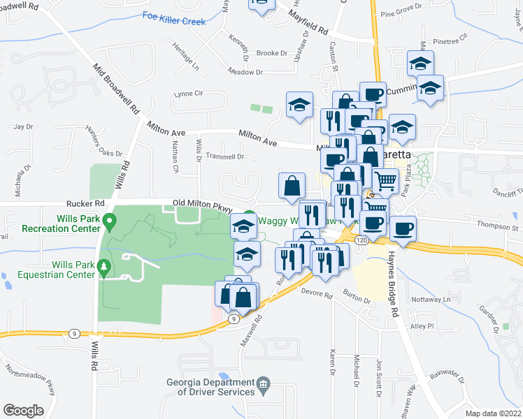 map of restaurants, bars, coffee shops, grocery stores, and more near 204 Marietta Street in Alpharetta