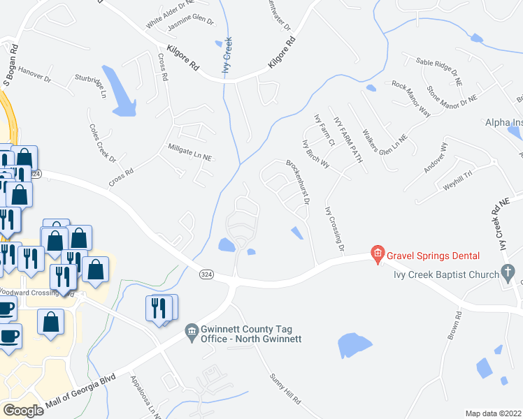 map of restaurants, bars, coffee shops, grocery stores, and more near 3156 Cedar Glade Lane Northeast in Buford