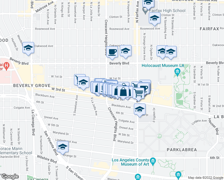 map of restaurants, bars, coffee shops, grocery stores, and more near 143 South Laurel Avenue in Los Angeles