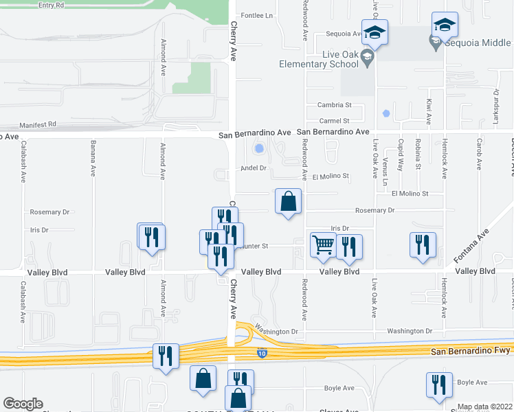 map of restaurants, bars, coffee shops, grocery stores, and more near 14570 Rosemary Drive in Fontana