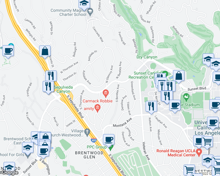 map of restaurants, bars, coffee shops, grocery stores, and more near 11150 Sunset Boulevard in Los Angeles