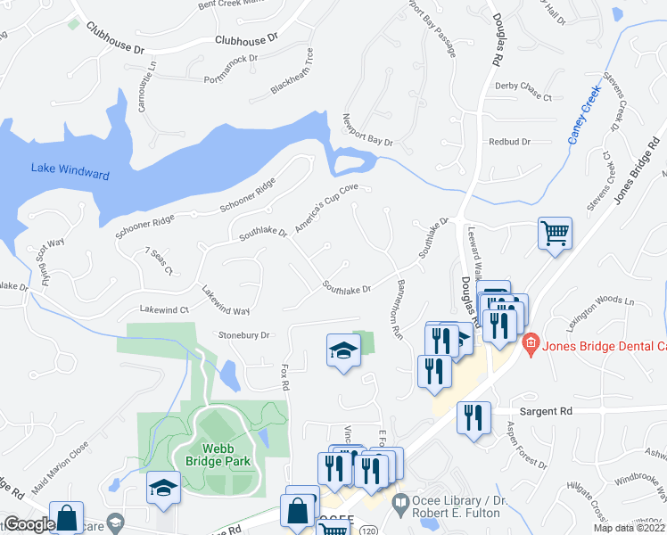 map of restaurants, bars, coffee shops, grocery stores, and more near 310 Intreped Cut in Alpharetta