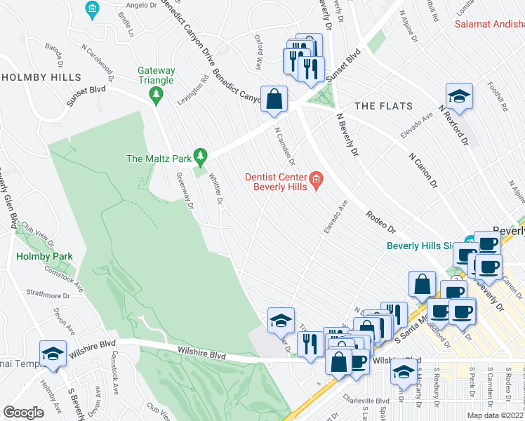 map of restaurants, bars, coffee shops, grocery stores, and more near North Roxbury Drive & Lomitas Avenue in Beverly Hills