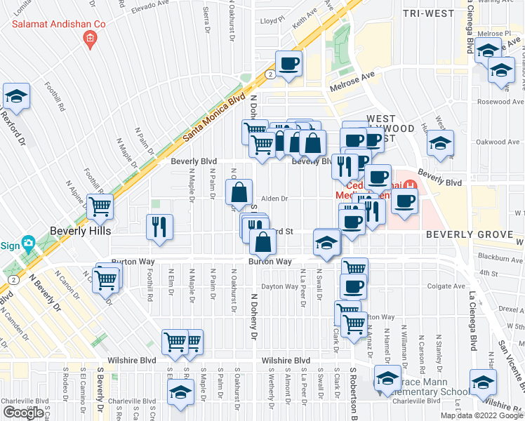map of restaurants, bars, coffee shops, grocery stores, and more near 100 South Doheny Drive in Los Angeles