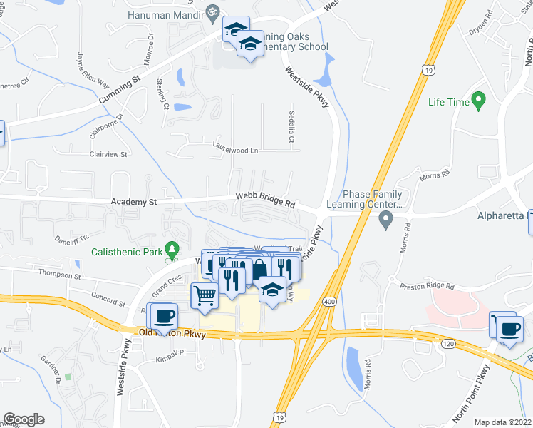 map of restaurants, bars, coffee shops, grocery stores, and more near Woodland Lane in Alpharetta