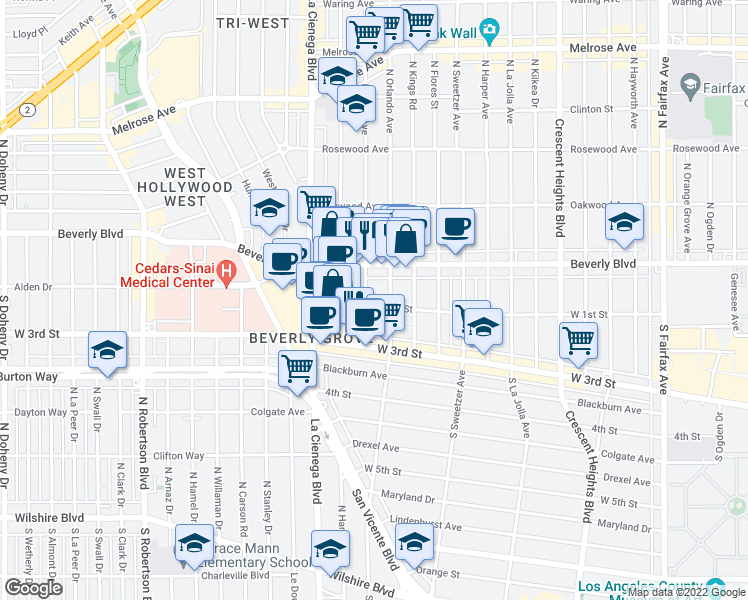 map of restaurants, bars, coffee shops, grocery stores, and more near 106 North Croft Avenue in Los Angeles