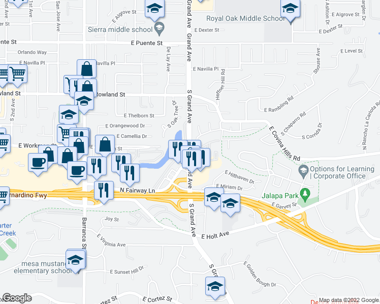 map of restaurants, bars, coffee shops, grocery stores, and more near 200 North Grand Avenue in Covina