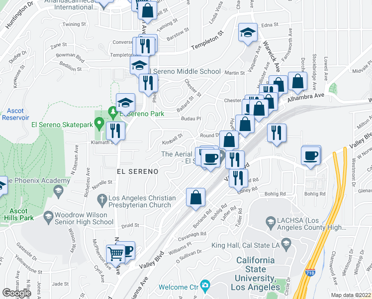 map of restaurants, bars, coffee shops, grocery stores, and more near 5136 La Calandria Way in Los Angeles