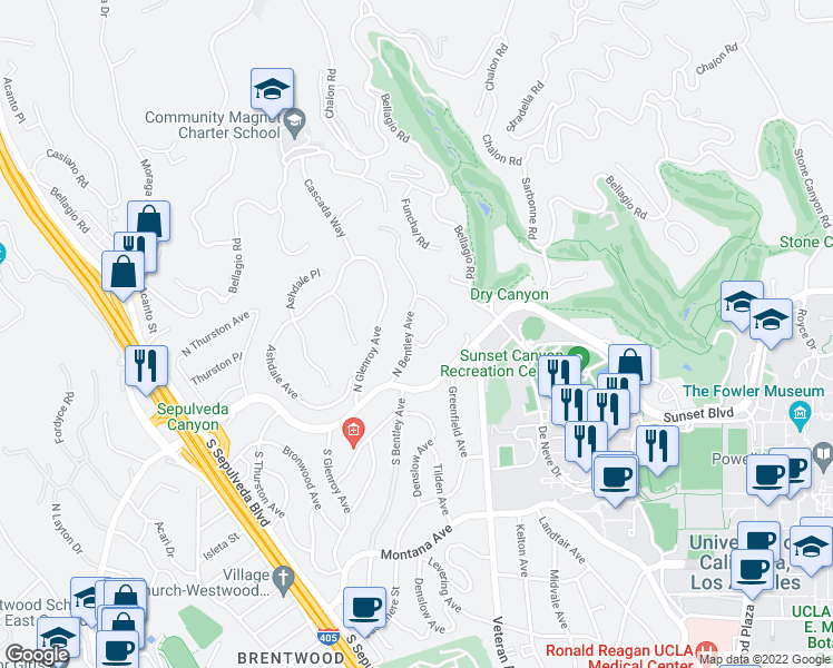 map of restaurants, bars, coffee shops, grocery stores, and more near 201 Bentley Circle in Los Angeles