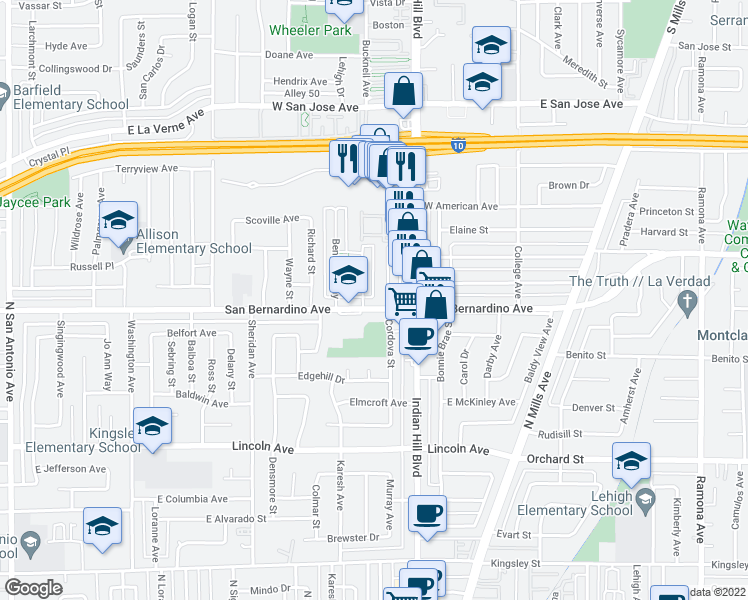 map of restaurants, bars, coffee shops, grocery stores, and more near 1523 San Bernardino Avenue in Pomona