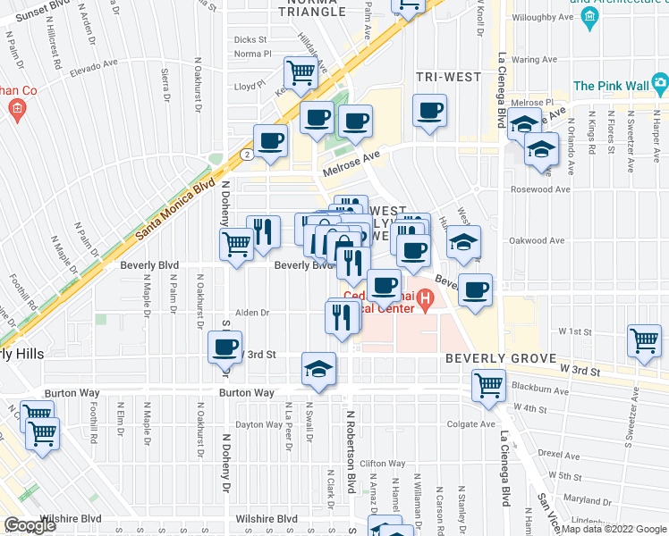 map of restaurants, bars, coffee shops, grocery stores, and more near 8818 Beverly Blvd in Los Angeles