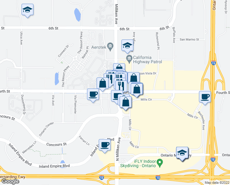 map of restaurants, bars, coffee shops, grocery stores, and more near 9200 N Milliken Ave in Ontario