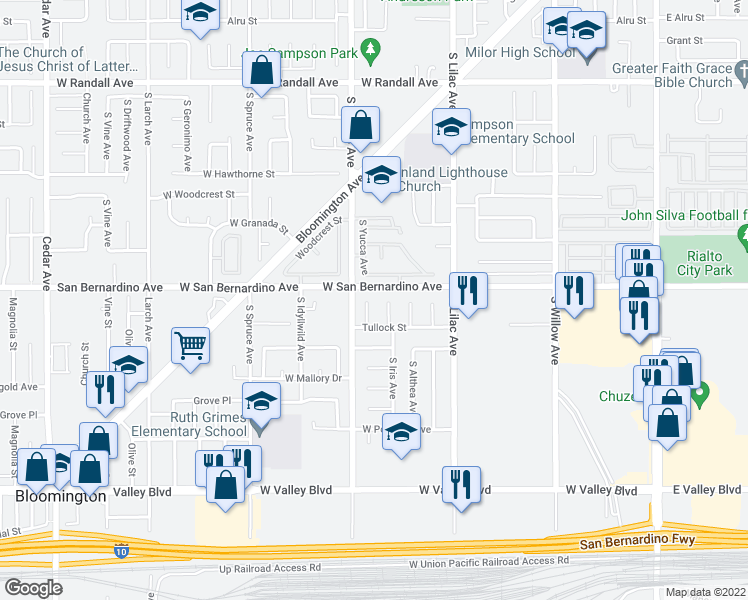 map of restaurants, bars, coffee shops, grocery stores, and more near 1313 South Yucca Avenue in Bloomington