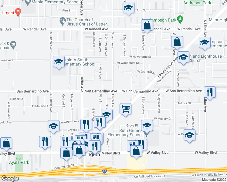 map of restaurants, bars, coffee shops, grocery stores, and more near 18912 San Bernardino Avenue in Bloomington