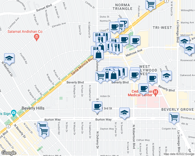 map of restaurants, bars, coffee shops, grocery stores, and more near North Doheny Drive in Beverly Hills