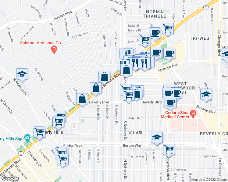 map of restaurants, bars, coffee shops, grocery stores, and more near 442 North Palm Drive in Beverly Hills