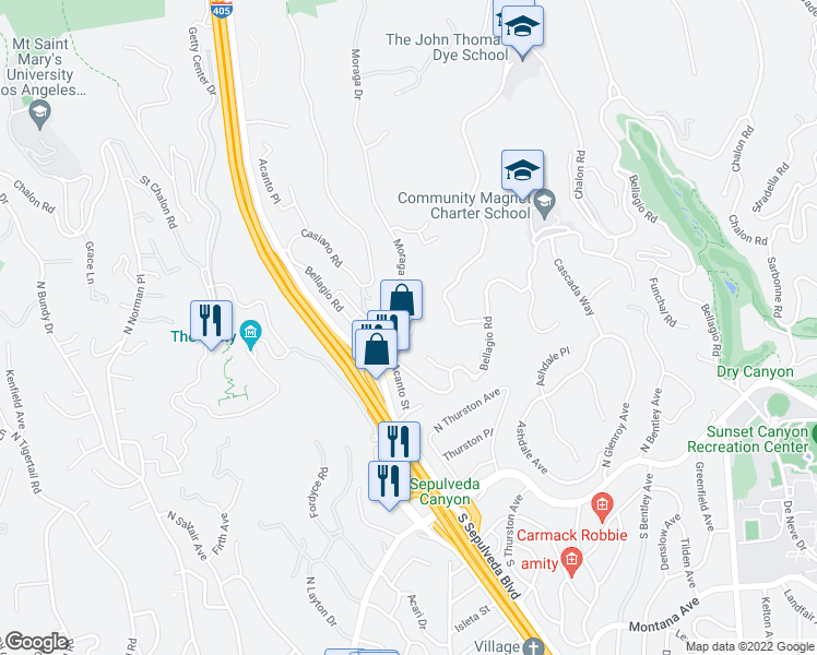 map of restaurants, bars, coffee shops, grocery stores, and more near 850 Moraga Drive in Los Angeles