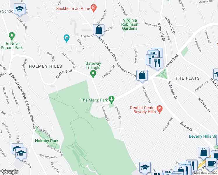 map of restaurants, bars, coffee shops, grocery stores, and more near 910 N Whittier Dr in Beverly Hills