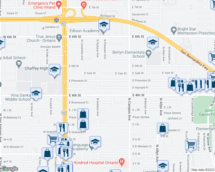 map of restaurants, bars, coffee shops, grocery stores, and more near 541 East Harvard Place in Ontario