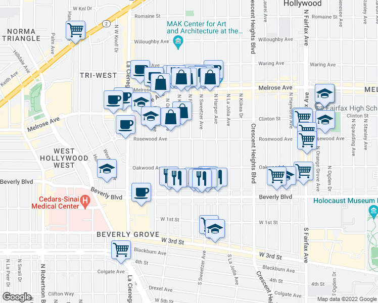map of restaurants, bars, coffee shops, grocery stores, and more near 441 North Flores Street in Los Angeles