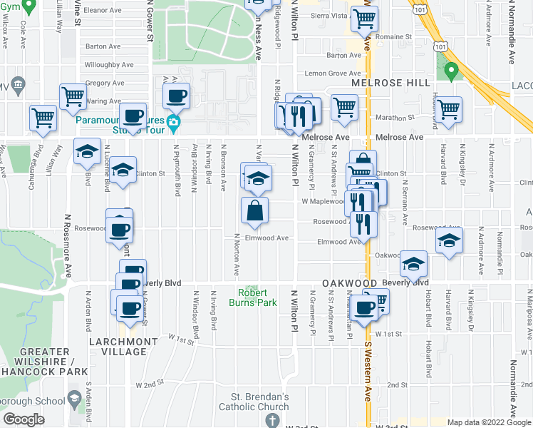 map of restaurants, bars, coffee shops, grocery stores, and more near 5051 Rosewood Avenue in Los Angeles
