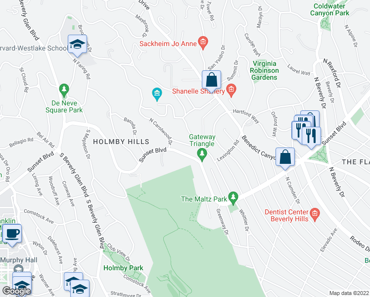 map of restaurants, bars, coffee shops, grocery stores, and more near 141 Monovale Drive in Beverly Hills