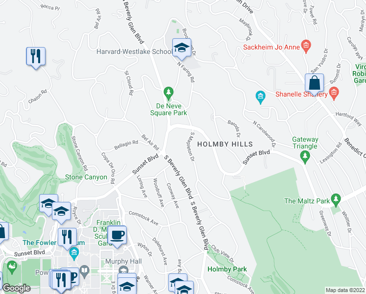 map of restaurants, bars, coffee shops, grocery stores, and more near 143 South Mapleton Drive in Los Angeles