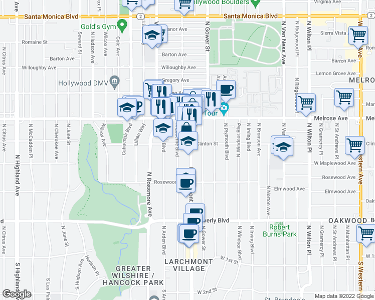 map of restaurants, bars, coffee shops, grocery stores, and more near 579 North Larchmont Boulevard in Los Angeles
