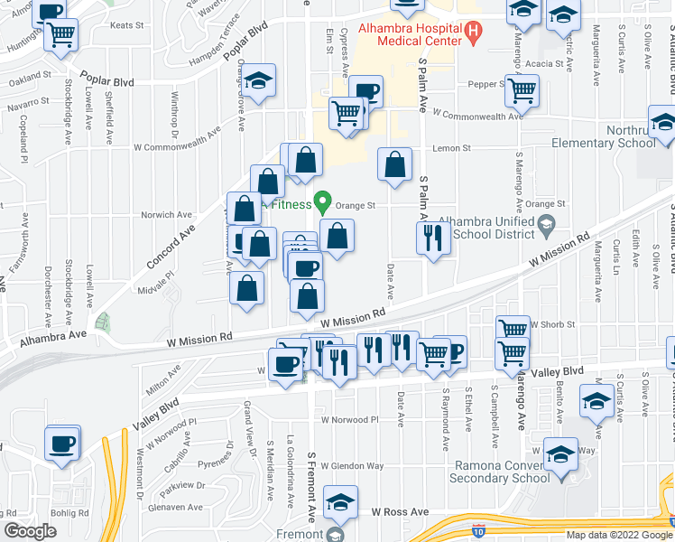 map of restaurants, bars, coffee shops, grocery stores, and more near 1000 South Fremont Avenue in Alhambra