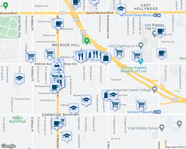 map of restaurants, bars, coffee shops, grocery stores, and more near 608 North Kingsley Drive in Los Angeles