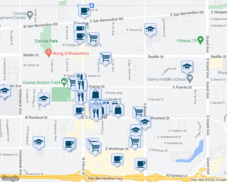 map of restaurants, bars, coffee shops, grocery stores, and more near 247 East Navilla Place in Covina