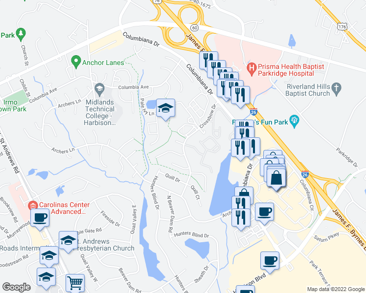 map of restaurants, bars, coffee shops, grocery stores, and more near 250 Crossbow Drive in Columbia