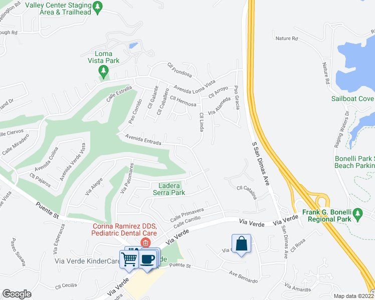 map of restaurants, bars, coffee shops, grocery stores, and more near 1603 Avenida Entrada in San Dimas