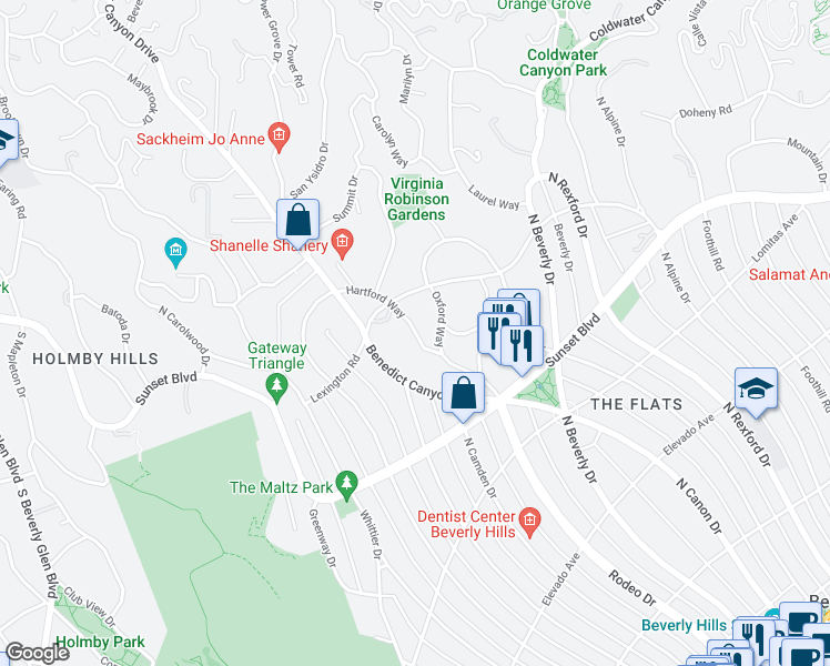 map of restaurants, bars, coffee shops, grocery stores, and more near 917 Hartford Way in Beverly Hills